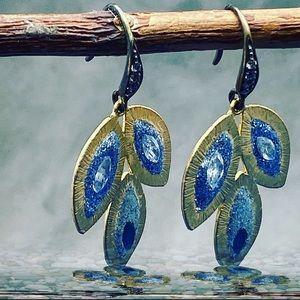 Matana Handmade Pavé earrings with white topaz